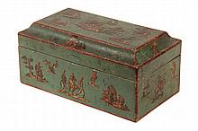 EARLY FRENCH DECOUPAGE BOX - Wooden Coffin Top Oblong Box in green paint with early 19th c. clipped prints as decoupage, with handcolor
