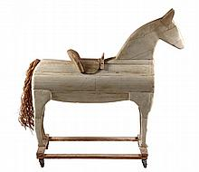 FOLK ART CHILD'S HORSE - Pull & Ride Figure of a Standing Horse in painted wood, with hemp tail, mounted on open frame with later cast