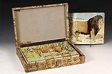 19TH C CHILDREN'S BLOCK SET - Boxed Set of Paper Litho African Animal Children's Blocks, with the pictorial sheets for lion, camel, e