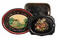 (3) TOLE PAINTED TRAYS - 19th c. Tin Trays, including: Large Oval