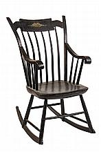 18TH C. WINDSOR ROCKER - Black Painted Thumb Back Stepdown Windsor Rocker with painted floral spray on center plate of rail, scrolled a