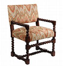 19TH C. COPY OF JACOBEAN ARMCHAIR - Open Frame Armchair in walnut, with barley twist carving, faux flame stitch tapestry upholstery. 35