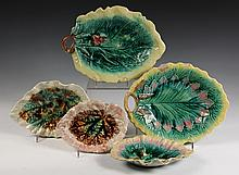 (5) MAJOLICA PLATES - American Tobacco Leaf-Form Plates, all unmarked but one by Griffin, Smith & Hill, which is the only one with no d