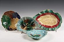 (4) MAJOLICA DISHES - American Leaf-Form Dishes, one by Griffin, Smith & Hill, the others unmarked. 6 1/2