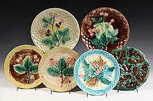 (6) MAJOLICA PLATES - Six assorted American, including: Griffin Smith & Hill Leaves, 9