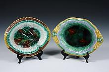 (2) MAJOLICA BREAD TRAYS - Both unmarked, one in leaf form with border that reads