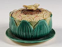 MAJOLICA POTTERY - Unmarked late 19th c. Covered Butter Dish, in Sunflower pattern, with bird form knop, integral underplate. Pink inte