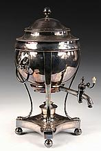 ENGLISH HOT WATER DISPENSER - Regency Style Sheffield Silver Plate Urn on integral stand, with lion's head drop ring handles, lion's
