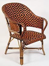 DECO RATTAN ARMCHAIR - 1930s American Patio Chair in orange and black herringbone weave, with bent bamboo frame. 17