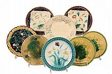 (8) MEDIUM MAJOLICA PLATES - Various patterns & glazes, all 19th c. 8