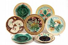 (7) LARGE MAJOLICA PLATES - Various patterns and glazes, all 19th c. 8 1/2