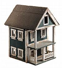 BIRDHOUSE - New England Farm House, possibly converted from a doll house, in white painted wood with green and black shingle roof. 27
