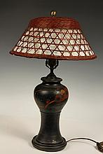 TABLE LAMP - 1920s Vintage Decorated Pottery Urn Form Lamp with woven wicker, cloth lined shade. Two down-light sockets. 22