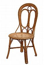 RATTAN SIDE CHAIR - Late 19th c, balloon back, woven seat, natural finish. 35