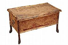 BLANKET CHEST / BENCH - Lift Top Scorched Bamboo & Woven Seagrass Storage Chest, with root ball feet, brass handles on ends. 17 1/2