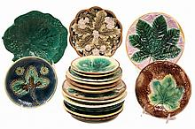 (19) MAJOLICA PLATES - Various Patterns & Glazes, 19th c. 7