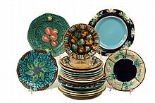 (18) MAJOLICA PLATES - Various designs and glazes. 19th c. 7
