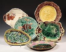(6) MAJOLICA SERVING PIECES - Chargers & Platters, various designs & glazes. 19th c. 11