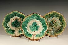 (3) MAJOLICA BOWLS - Three Large Leaf Pattern Majolica Bowls in green, yellow & brown, late 19th c, probably American. 2 1/4