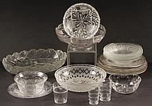 (23) PCS VINTAGE PRESSED GLASS - Various plates, bowls & cups, circa 1900-1940, some with etched decoration, three plates with silver o