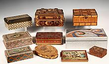 (10) FOLK ART BOXES - Various Boxes, circa 1900-1930, tramp art, matchstick, decoupage, painted, etc. 4