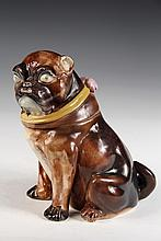 FIGURAL TOBACCO JAR - Majolica Jar in Pug Dog Form, with pink interior, unmarked, probably American. 8