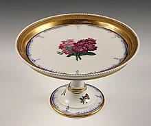 PORCELAIN STAND - KPM Footed Cake Stand with floral decoration, gilt edge, two-part. Pink and blue marks. 6