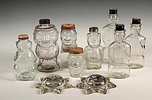 (10) PCS VINTAGE FIGURAL GLASS - Including: Fat Man Bottle; (3) Lincoln Bank Bottles; (2) Snow Crest Teddy Bear Bank Bottles; (2) Lucky