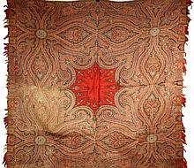 ANTIQUE PAISLEY TABLECLOTH - Late 19th c. Machine Made thick all-wool tablecloth with crimson center surrounded by dark brown and green