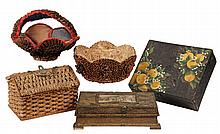 (5) VINTAGE BOXES & BASKETS - Including: Victorian Seagrass Sewing Basket; (2) Folk Art Pine Cone Baskets with cloth lining; Wicker Des