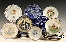 (20) SOUVENIR PLATES - Early 20th c, American, including Our Martyrs, USS Maine, Admiral Dewey, Teddy Roosevelt, Aero Plate from 1906 E