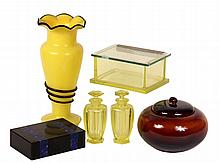 (6) PCS INTERNATIONAL DECO GLASS & POTTERY - Inc: Vaseline Glass Vanity Box & (2) Perfume Bottles (American); Black Stone & Malachite B