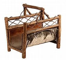ADIRONDACK LOG CARRIER - Circa 1910s Branch & Twig Constructed Log Carrier with a birch bark cradle. 21