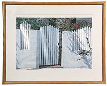 OFFSET LITHO PRINT - The White Gate by Randy Eckard (contemporary Blue Hill, Maine), signed in print lr and dated '89. In oak frame, m