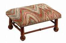 BAMBOO FOOTSTOOL - Oblong Scorched Bamboo Foot Rest with brocade upholstery, ball feet. Circa 1910. 7
