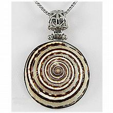 Natural 73.75ctw Mother of Pearl Sea Shell Silver Pendant - L17838