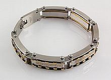 Men's Stainless Electroplated Bracelet 8 3/4 with Gold Ion Plating - L25132