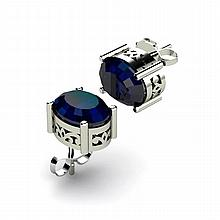 Sapphire 3.10ctw Earring 14kt White Gold - L11113