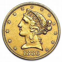 $5 Liberty Gold Half Eagle - Cleaned - L30277