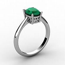 Emerald 0.85 ctw Ring 14kt White Gold - L15239