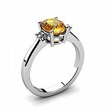 Citrine 1.25ctw Ring 14kt White Gold - L11047
