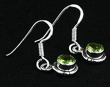 1.10CT Peridot Bezel Design 0.925 Hook Earring 2.17g - L20193