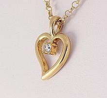 Cubic Zirconian Heart Pendant 1 Stone - L25164