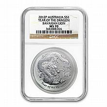 2012 1 oz Silver Year of the Dragon Coin (Lion Privy) NGC MS-70 - L25012