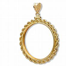 14K Gold Screw-Top Rope Polished Coin Bezel - 34.2 mm - L26196
