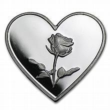 1 gram Rose Silver Heart .999 Fine - L29110