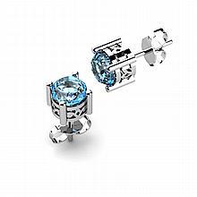 Aqua Marine 0.90ctw Earring 14kt White Gold - L11142