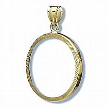 14K Gold Prong Diamond-Cut Coin Bezel - 32 mm - L26213