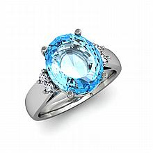 Aqua Marine 4.50 ctw & Diamond Ring 14kt White Gold - L11853
