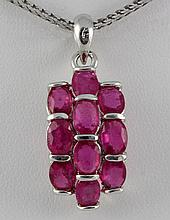 20.66CTW Pink Ruby Cluster Design Silver Pendant - L19141